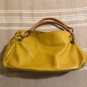 HYPE Canary Yellow Leather Satchel Purse.